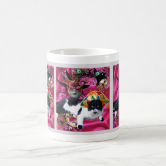 CAT WITH HARLEQUIN HAT AND MASQUERADE PARTY MASKS COFFEE MUG