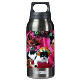 CAT WITH HARLEQUIN HAT AND MASQUERADE PARTY MASKS INSULATED WATER BOTTLE