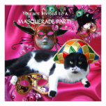 CAT WITH HARLEQUIN HAT AND MASQUERADE PARTY MASKS ANNOUNCEMENTS
