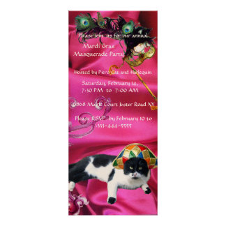 CAT WITH HARLEQUIN HAT AND MASQUERADE PARTY MASKS PERSONALIZED INVITATION