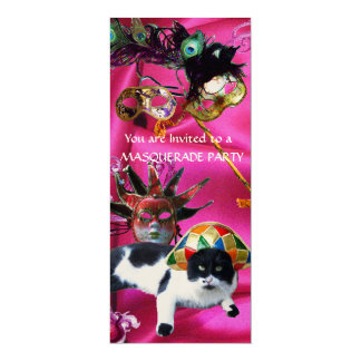 """CAT WITH HARLEQUIN HAT AND MASQUERADE PARTY MASKS 4"""" X 9.25"""" INVITATION CARD"""