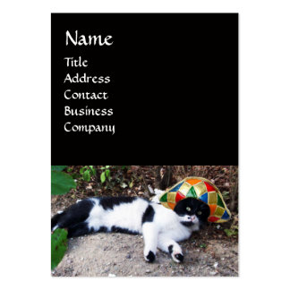 CAT WITH HARLEQUIN HAT AND MASQUERADE PARTY MASKS LARGE BUSINESS CARD