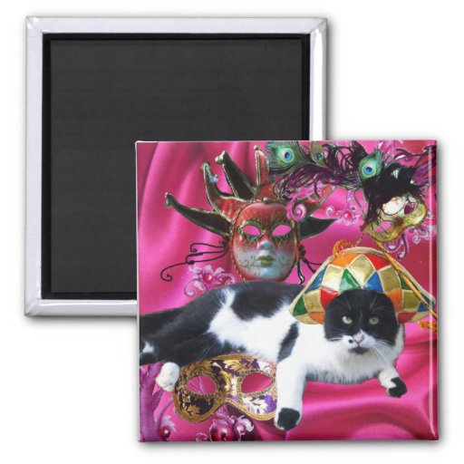 CAT WITH HARLEQUIN HAT AND MASQUERADE PARTY MASKS FRIDGE MAGNETS