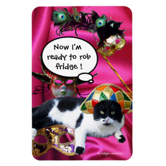 CAT WITH HARLEQUIN HAT AND MASQUERADE PARTY MASKS MAGNET