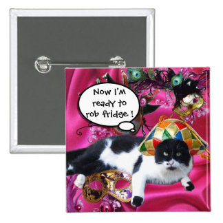 CAT WITH HARLEQUIN HAT AND MASQUERADE PARTY MASKS PINBACK BUTTON