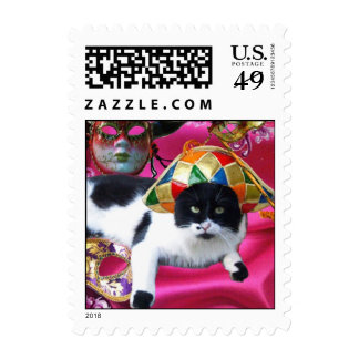 CAT WITH HARLEQUIN HAT AND MASQUERADE PARTY MASKS POSTAGE STAMPS