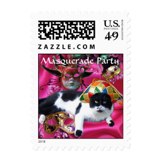 CAT WITH HARLEQUIN HAT AND MASQUERADE PARTY MASKS POSTAGE