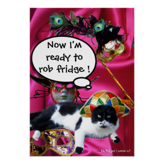 CAT WITH HARLEQUIN HAT AND MASQUERADE PARTY MASKS POSTER
