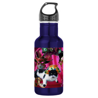 CAT WITH HARLEQUIN HAT AND MASQUERADE PARTY MASKS STAINLESS STEEL WATER BOTTLE