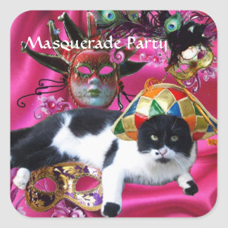 CAT WITH HARLEQUIN HAT AND MASQUERADE PARTY MASKS SQUARE STICKERS