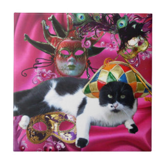 CAT WITH HARLEQUIN HAT AND MASQUERADE PARTY MASKS TILE