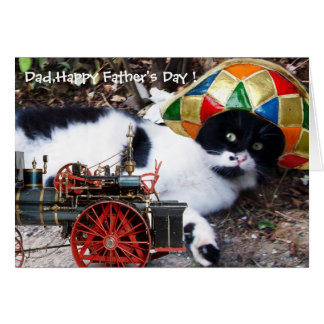 CAT WITH HARLEQUIN HAT Father's Day Card
