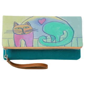 Cat with Heart Abstract Art Clutch Purse Wristlet