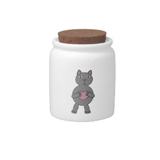 Cat with Heart Candy Jar