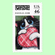 Cat with Heart Postage Stamp - Black and white cat holding a heart shaped pillow for that extra special person in your life. Warm the heart of any cat enthusiast. Use it to brighten up invitations or other special occasion mailings like Valentine's Day.