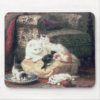 Cat with her Kittens on a Cushion Mouse Pad