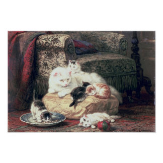 Cat with her Kittens on a Cushion Poster