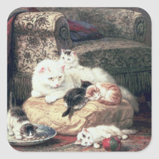 Cat with her Kittens on a Cushion Square Sticker