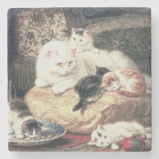 Cat with her Kittens on a Cushion Stone Coaster