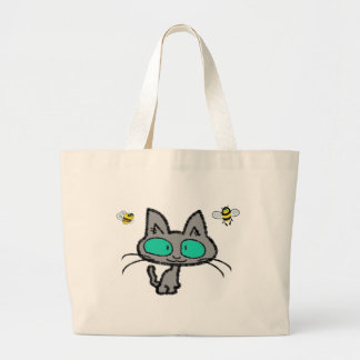 Cat With His Bee Friends Tote Bag