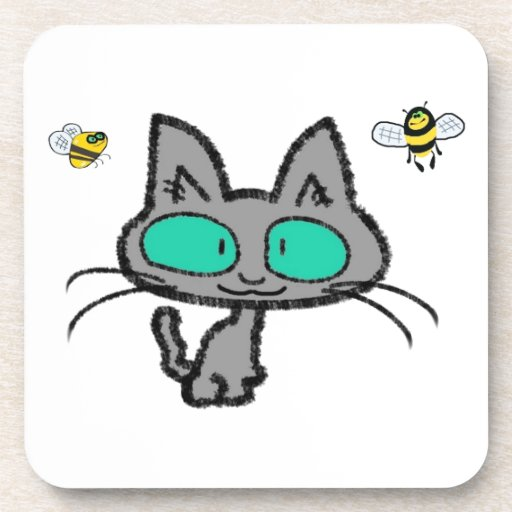 Cat With His Bee Friends Coasters