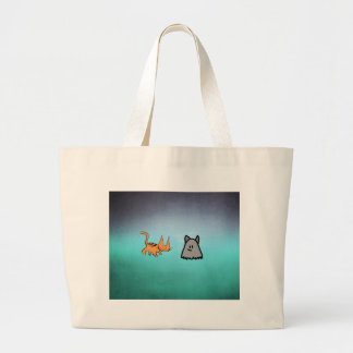 Cat With His Ghost Friend Tote Bags