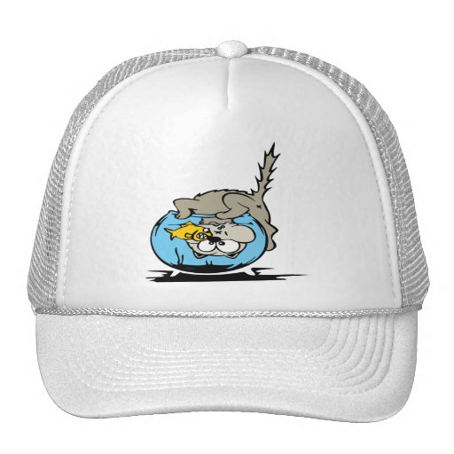 Cat with his head stuck in a fishbowl trucker hat