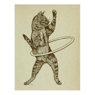 Cat with Hula Hoop Postcard