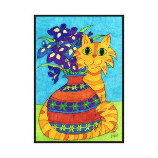 Cat with Irises in Talavera Vase Canvas Print