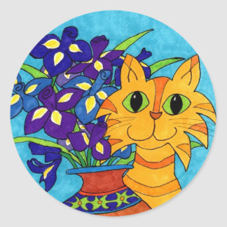 Cat with Irises in Talavera Vase Classic Round Sticker