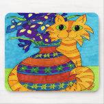 Cat with Irises in Talavera Vase Mousepad