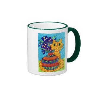 Cat with Irises in Talavera Vase Mug