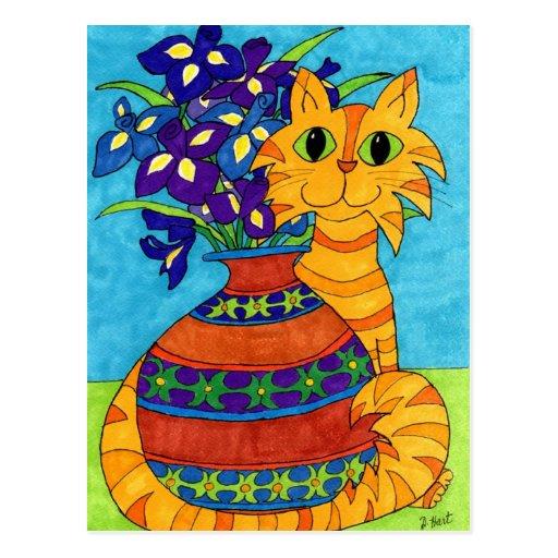 Cat with Irises in Talavera Vase Postcard