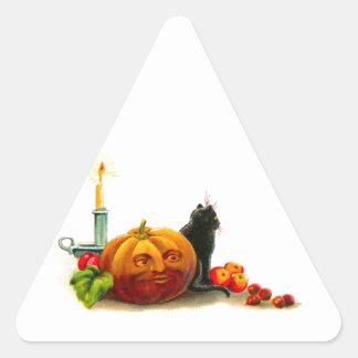 Cat with Jack-O-Lantern Halloween Triangle Sticker