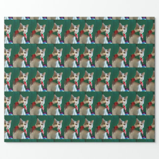 Cat with Jingle Bell Collar Wrapping Paper