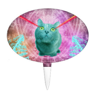 Cat with laser eyes cake topper