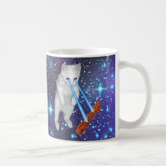 Cat With Laser Eyes Cooking Bacon In Space Coffee Mug