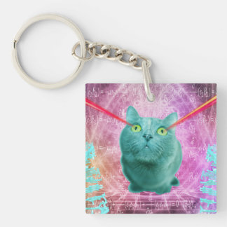 Cat with laser eyes keychain