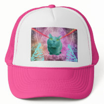 Cat with laser eyes trucker hat