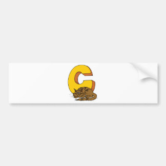 Cat with Letter C Bumper Sticker