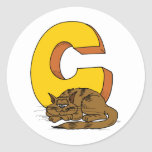 Cat with Letter C Round Stickers