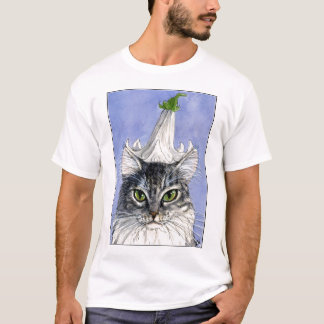 Cat with Lily Hat on Blue background tee shirt