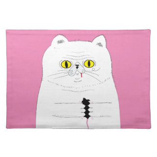 Cat With Mouse Funny Drawing Cloth Placemat