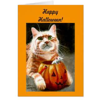 Cat with Mouse in Pumpkin Happy Halloween! Card