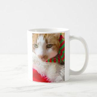 Cat with muffler and Santa hat Coffee Mug