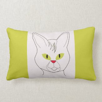 Cat with olive eyes Throw pillow