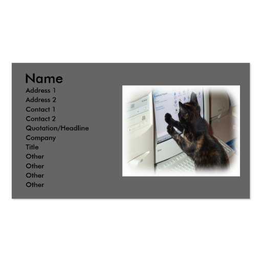 Cat with PC Double-Sided Standard Business Cards (Pack Of 100)