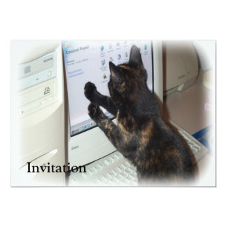 Cat with PC 5x7 Paper Invitation Card