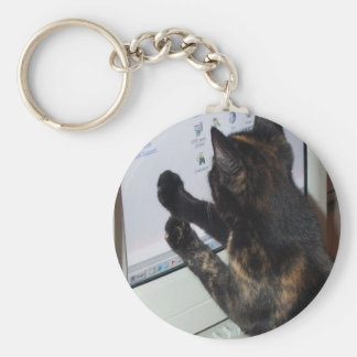 Cat with PC Keychain