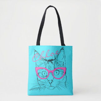 Cat With Pink Glasses Retro Blue Name Tote Bag